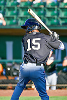 Luis Silverio (15) of the Missoula Osprey at bat against the Ogden Raptors in Pioneer League action at Lindquist Field on July 14, 2016 in Ogden, Utah. Ogden defeated Missoula 10-4. (Stephen Smith/Four Seam Images)