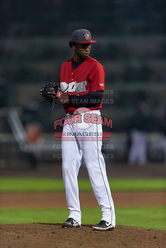 Fort Wayne TinCaps relief pitcher Henry Henry (17) during a Midwest League game against the Fort Wayne TinCaps at Parkview Field on April 30, 2019 in Fort Wayne, Indiana. Kane County defeated Fort Wayne 7-4. (Zachary Lucy/Four Seam Images)
