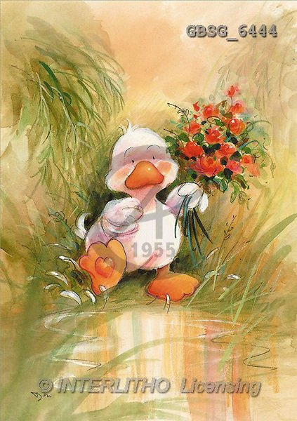 Ron, CUTE ANIMALS, Quacker, paintings, duck, red roses(GBSG6444,#AC#) Enten, patos, illustrations, pinturas
