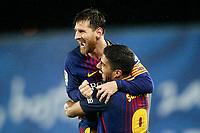FC Barcelona's Leo Messi (l) and Luis Suarez celebrate goal during La Liga match. January 14,2018.  *** Local Caption *** © pixathlon<br /> Contact: +49-40-22 63 02 60 , info@pixathlon.de