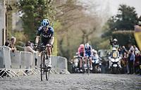 Dylan van Baarle (NED/SKY) up the Kruisberg<br /> <br /> 103rd Ronde van Vlaanderen 2019<br /> One day race from Antwerp to Oudenaarde (BEL/270km)<br /> <br /> ©kramon