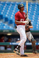 James Wood (23) of IMG Academy in Olney, MD during the Perfect Game National Showcase at Hoover Metropolitan Stadium on June 17, 2020 in Hoover, Alabama. (Mike Janes/Four Seam Images)