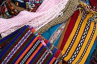 Peru, Urubamba Valley, Quechua Village of Misminay.  Locally-woven Textiles, Scarves, and Hats.