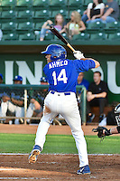 Michael Ahmed (14) of the Ogden Raptors at bat against the Missoula Osprey in Pioneer League action at Lindquist Field on August 4, 2014 in Ogden, Utah.  (Stephen Smith/Four Seam Images)