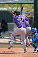 Colorado Rockies right fielder Drew Weeks (29) during a Minor League Spring Training game against the Chicago Cubs at Sloan Park on March 27, 2018 in Mesa, Arizona. (Zachary Lucy/Four Seam Images)