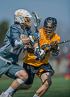 16 April 2016: University of Maryland, Baltimore County Retriever Attacker Nate Lewnes, a Senior from Arnold, MD, in action against University of Vermont Catamount Midfielder Alex Stanko, a Junior from West Newton, MA, at Virtue Field in Burlington, Vermont. The Retrievers fell to the Catamounts 14-10 in NCAA Division I play. Mandatory Credit: Ed Wolfstein Photo *** RAW (NEF) Image File Available ***