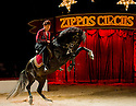 "© Under licence to London News Pictures. 31/03/2011. Zippo's Circus opens in Finsbury Park, London, with a brand new show ""Horsepower"", featuring horses of both the corporeal and mechanical kinds. Yasmine Smart, grand-daughter of Billy Smart, returns to the UK to perfrom for the first time in 25 years, with a new act, on her new horse, Andalusian Stallion, 'Diamond'. Picture credit should read: Jane Hobson/London News Pictures"