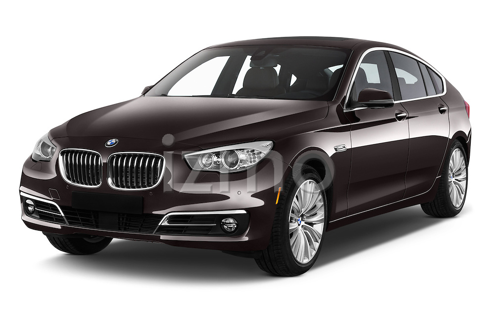 2015 BMW 5 Series 535i Gran Turismo Luxury Line 5 Door Hatchback Angular Front stock photos of front three quarter view