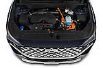 Car Stock 2021 Hyundai Santa-FE-Hybrid Limited-HEV 5 Door SUV Engine  high angle detail view