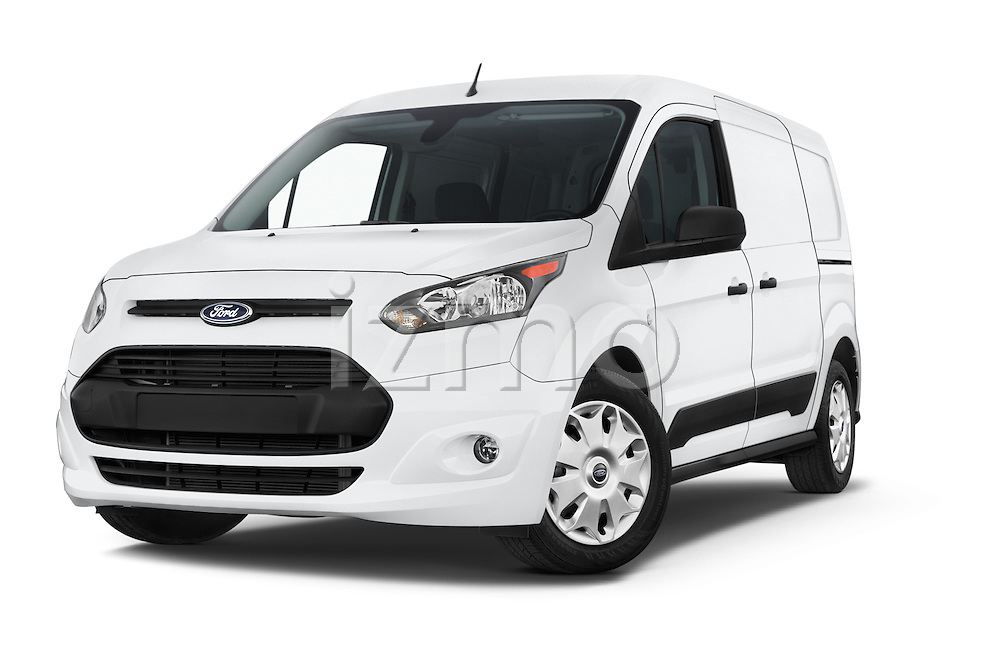 Stock pictures of low aggressive front three quarter view of a 2015 Ford Transit Connect XLT 4 Door Car Van Low Aggressive