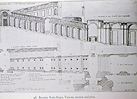 Section and plan by Bernini of Scala Regia, Vatican.