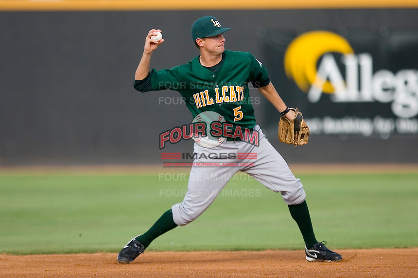 Shortstop Jordy Mercer #5 of the Lynchburg Hillcats makes a throw to first base versus the Winston-Salem Dash at Wake Forest Baseball Stadium August 30, 2009 in Winston-Salem, North Carolina. (Photo by Brian Westerholt / Four Seam Images)