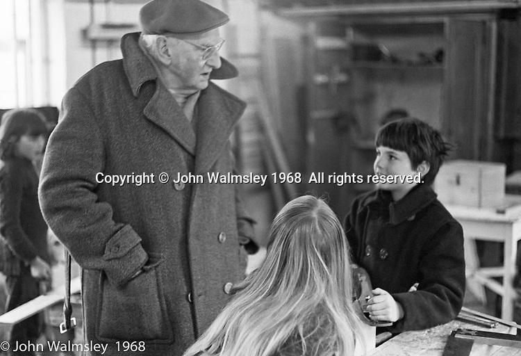 A.S.Neill in the carpentry workshop, Summerhill school, Leiston, Suffolk, UK. 1968.