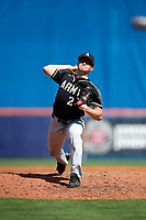 Army West Point relief pitcher Carter Van Gytenbeek (24) delivers a pitch during a game against the Michigan Wolverines on February 18, 2018 at First Data Field in St. Lucie, Florida.  Michigan defeated Army 7-3.  (Mike Janes/Four Seam Images)