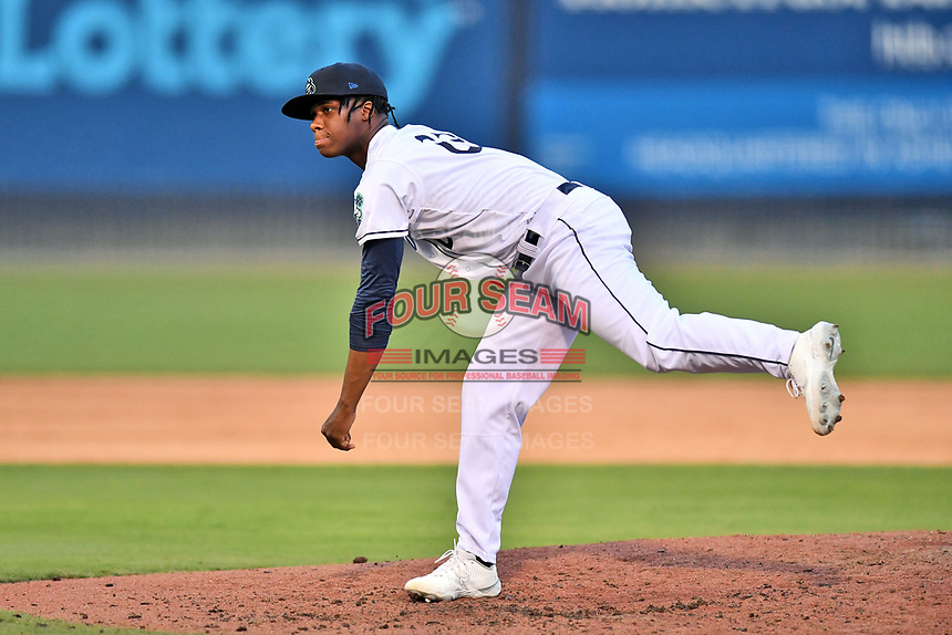 Asheville Tourists pitcher Brayan DePaula (22) delivers a pitch during a game against the Greenville Drive on July 16, 2021 at McCormick Field in Asheville, NC. (Tony Farlow/Four Seam Images)