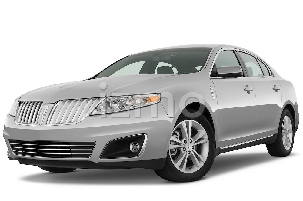 Low aggressive front three quarter view of a 2010 Lincoln MKS FWD.