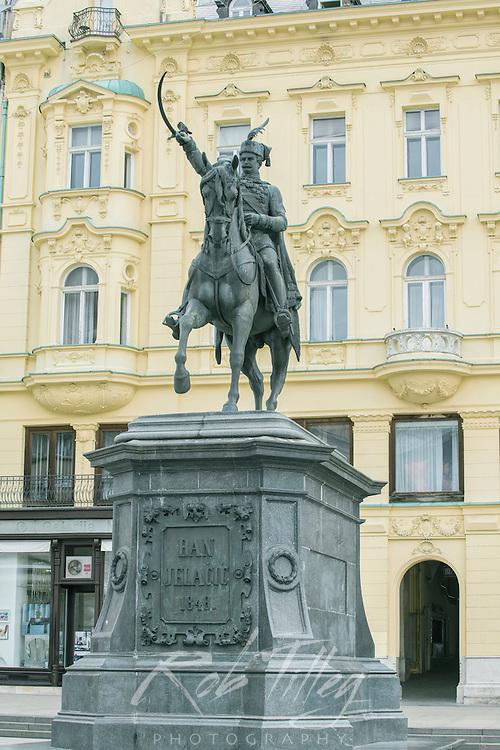 Croatia, Zagreb, Jelacic Square, Statue of Ban Jelacic