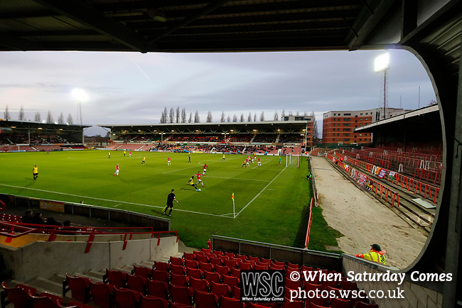 Wrexham 2 Ebbsfleet United 0, 18/11/2017. The Racecourse Ground, National League. Ebbsfleet attack in front of The Mold Road Stand. Photo by Paul Thompson.
