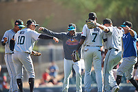 Members of the Salt River Rafters celebrate after winning the Arizona Fall League Championship Game against the Surprise Saguaros on October 26, 2019 at Salt River Fields at Talking Stick in Scottsdale, Arizona. The Rafters defeated the Saguaros 5-1. (Zachary Lucy/Four Seam Images)
