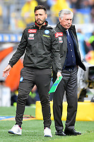 Carlo Ancelotti of Napoli (R) and his son Davide during the Serie A 2018/2019 football match between Frosinone and SSC Napoli at stadio Benito Stirpe, Frosinone, April 28, 2019 <br /> Photo Andrea Staccioli / Insidefoto
