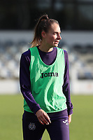 Tessa Wullaert (27) of Anderlecht pictured during a warm up before a female soccer game between Oud Heverlee Leuven and RSC Anderlecht on the fifth matchday of the 2021 - 2022 season of Belgian Womens Super League , sunday 3 October 2021  in Leuven , Belgium . PHOTO SPORTPIX.BE   SEVIL OKTEM