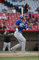 Matt Beaty (5) of the Rancho Cucamonga Quakes bats against the High Desert Mavericks at Heritage Field on August 7, 2016 in Adelanto, California. Rancho Cucamonga defeated High Desert, 10-9. (Larry Goren/Four Seam Images)