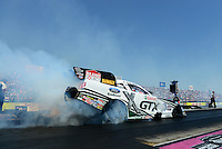 Sept. 22, 2012; Ennis, TX, USA: NHRA funny car driver Mike Neff during qualifying for the Fall Nationals at the Texas Motorplex. Mandatory Credit: Mark J. Rebilas-US PRESSWIRE