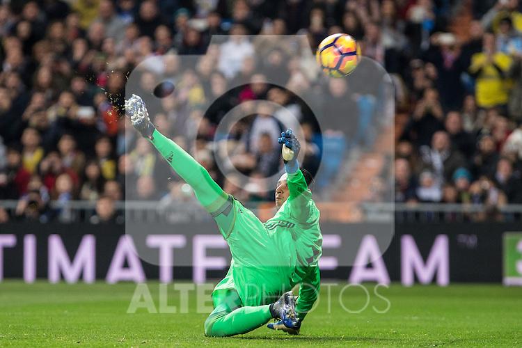 Keylor Navas of Real Madrid  during the match of Spanish La Liga between Real Madrid and UD Las Palmas at  Santiago Bernabeu Stadium in Madrid, Spain. March 01, 2017. (ALTERPHOTOS / Rodrigo Jimenez)