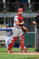 Greeneville Reds catcher Hunter Oliver (28) during the first game of a doubleheader against the Princeton Rays on July 25, 2018 at Hunnicutt Field in Princeton, West Virginia.  Princeton defeated Greeneville 6-4.  (Mike Janes/Four Seam Images)