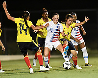 Lakewood Ranch, FL - Wednesday, October 10, 2018:   Hannah Bebar, Sharon Ramirez C. during a U-17 USWNT match against Colombia.  The U-17 USWNT defeated Colombia 4-1.