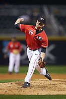 Georgia Bulldogs relief pitcher Shane Tucker (20) in action against the Charlotte 49ers at BB&T Ballpark on March 8, 2016 in Charlotte, North Carolina. The 49ers defeated the Bulldogs 15-4. (Brian Westerholt/Four Seam Images)