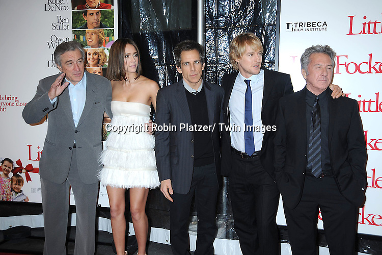 "Robert De Niro, Jessica Alba, Ben Stiller, Owen Wilson and Dustin Hoffman at the World Premiere of ""Little Fockers"",.benefiting the not-for-profit tribeca Film Institute on December 15, 2010 at The .Ziegfeld Theatre in New York City."