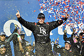 #16: Brett Moffitt, Hattori Racing Enterprises, Toyota Tundra celebrates in victory lane