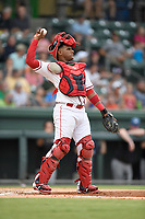 Catcher Roldani Baldwin (16) of the Greenville Drive tosses back to the pitcher in a game against the Asheville Tourists on Wednesday, August 2, 2017, at Fluor Field at the West End in Greenville, South Carolina. Greenville won, 1-0. (Tom Priddy/Four Seam Images)