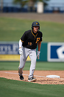 Pittsburgh Pirates Will Matthiessen (18) leads off during a Florida Instructional League game against the Detroit Tigers on October 16, 2020 at Joker Marchant Stadium in Lakeland, Florida.  (Mike Janes/Four Seam Images)