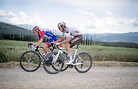 """Lawrence Naesen (BEL/AG2R Citroën) & Simon Guglielmi (FRA/Groupama - FDJ) over the final gravel sector with 9km to go <br /> <br /> 104th Giro d'Italia 2021 (2.UWT)<br /> Stage 11 from Perugia to Montalcino (162km)<br /> """"the Strade Bianche stage""""<br /> <br /> ©kramon"""