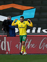 31st October 2020; Ashton Gate Stadium, Bristol, England; English Football League Championship Football, Bristol City versus Norwich;  Goal celebrations for Emi Buendía of Norwich City for l-3 in the 47th minute