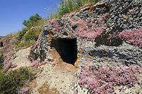 Domus de Janas di Partulesi (Neolithische Grabkammern der Ozieri-Kultur 3.500-2.700 v.Chr.)  bei Ittireddu, Provinz Sassari, Nord - Sardinien, Italien