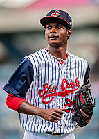 22 July 2018: Syracuse SkyChiefs pitcher Phillips Valdez returns to the dugout between innings of a game against the Louisville Bats at NBT Bank Stadium in Syracuse, NY. The Bats defeated the Chiefs 3-1 in AAA International League play. Mandatory Credit: Ed Wolfstein Photo *** RAW (NEF) Image File Available ***