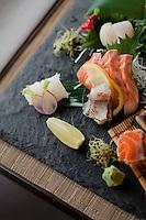Sashimi of sea bass, sea bream, scallops, bonito, squid and chinchard (similar to mackerel) at the Saison restaurant, Rue Gubernatis, Nice, France 30 November 2011
