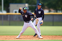 FCL Yankees shortstop Roberto Chirinos (57) throws to first base as second baseman Jose Colmenares (12) backs up the play during a game against the FCL Blue Jays on June 29, 2021 at the Yankees Minor League Complex in Tampa, Florida.  (Mike Janes/Four Seam Images)