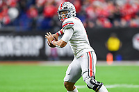 Indianapolis, IN - DEC 7, 2019: Ohio State Buckeyes quarterback Justin Fields (1) in action during Big Ten Championship game between Wisconsin and Ohio State at Lucas Oil Stadium in Indianapolis, IN. Ohio State came back from a 21-7 deficit at halftime to beat Wisconsin 34-21 to win its third straight Big Ten Championship. (Photo by Phillip Peters/Media Images International)