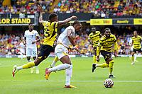 11th September 2021; Vicarge Road, Watford, Herts,  England;  Premier League football, Watford versus Wolverhampton Wanderers; Adama Traoré of Wolverhampton Wanderers takes on Emmanuel Dennis of Watford