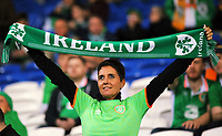 An Ireland fan with flag during the FIFA World Cup Qualifier Group D match between Wales and Republic of Ireland at The Cardiff City Stadium, Wales, UK. Monday 09 October 2017