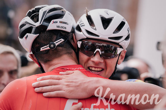New National Champion Yves Lampaert (BEL/Quick-Step Floors) hugging Jasper Stuyven (BEL/Trek-Segafredo) after the finish line<br /> <br /> Belgian National Championships 2018 (road) in Binche (224km)<br /> ©kramon