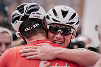 New National Champion Yves Lampaert (BEL/Quick-Step Floors) hugging Jasper Stuyven (BEL/Trek-Segafredo) after the finish line<br /> <br /> Belgian National Championships 2018 (road) in Binche (224km)<br /> ©kramon