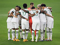 LOS ANGELES, CA - SEPTEMBER 13: Portland Timbers starting eleven starting eleven huddle during a game between Portland Timbers and Los Angeles FC at Banc of California stadium on September 13, 2020 in Los Angeles, California.