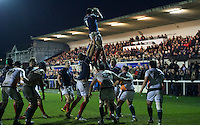 Chris Walker of London Scottish Football Club wins the line out during the Greene King IPA Championship match between London Scottish Football Club and Ealing Trailfinders at Richmond Athletic Ground, Richmond, United Kingdom on 26 December 2015. Photo by Alan  Stanford / PRiME Media Images