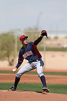Trevor Bauer #47 of the Cleveland Indians pitches during a Minor League Spring Training Game against the Cincinnati Reds at the Cincinnati Reds Spring Training Complex on March 25, 2014 in Goodyear, Arizona. (Larry Goren/Four Seam Images)