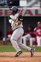 Corey Kemp (35) of the East Carolina Pirates follows through on his swing versus the South Carolina Gamecocks at Sarge Frye Field in Columbia, SC, Sunday, February 24, 2008.